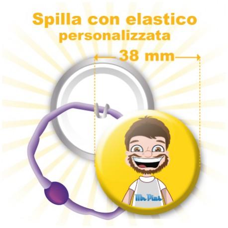 Spilla con elastico personalizzata Ø 38 mm
